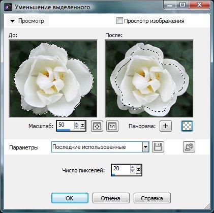 Настройка параметров сокращения выделения Corel PaintShop Pro автор Шитов В.Н.