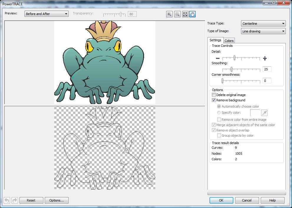 Трассировка пиксельного изображения в приложении CorelTRACE