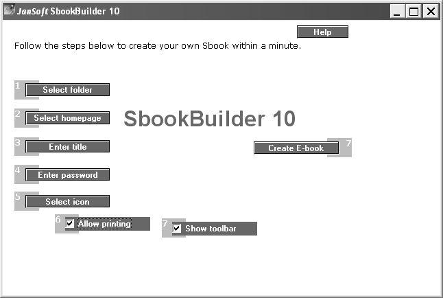 Рабочее окно конвертора SbookBuilder 10